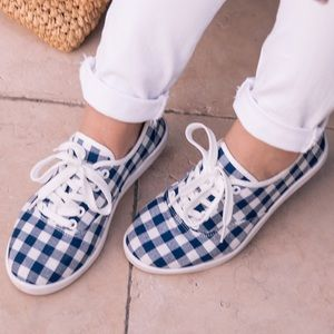 Navy Gingham Sneakers